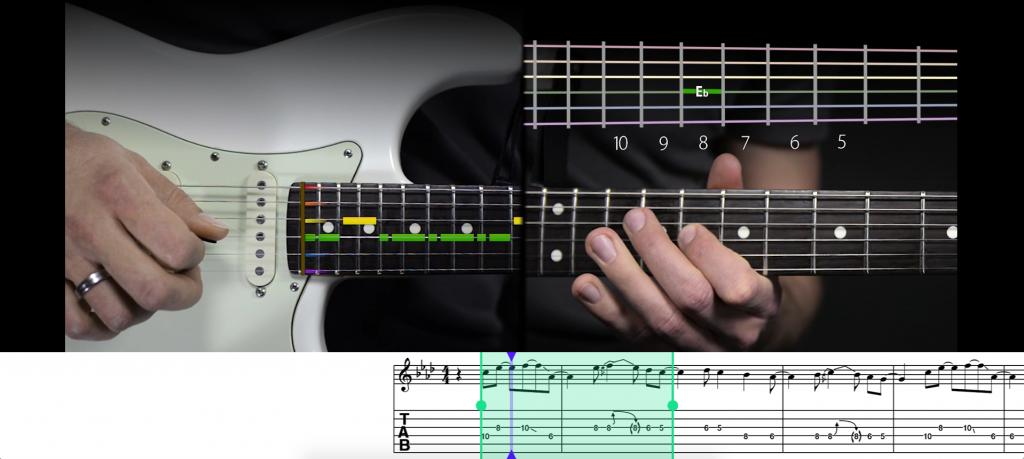 Der Übungsmodus von music2me, um einzelnen Passagen wiederholt abzuspielen.