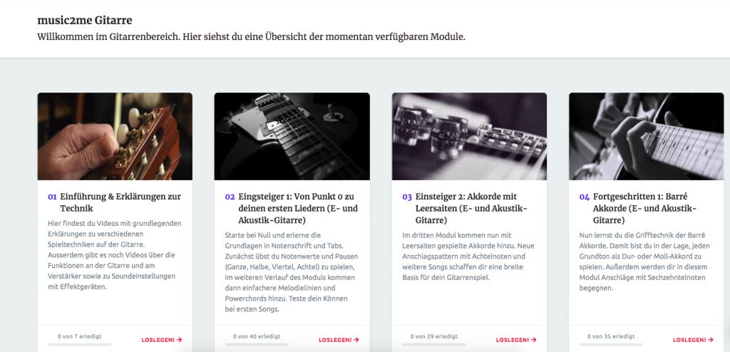 Eine Übersicht der verfügbaren Gitarrenlektionen von music2me.