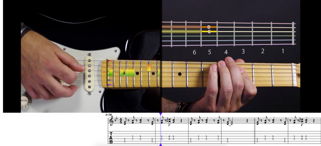 So sieht eine Gitarrenlektion bei music2me aus.