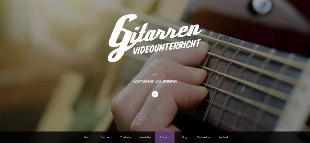 Benutzeroberfläche von Gitarrenvideounterricht
