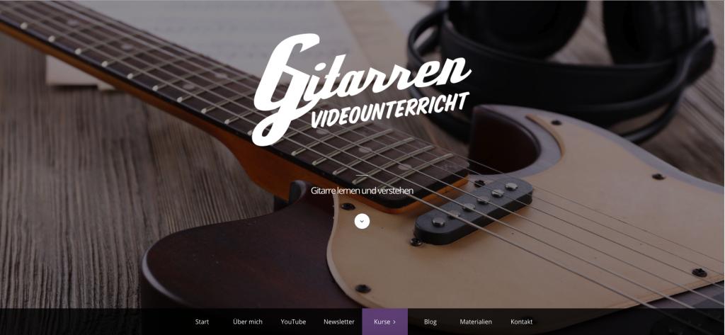 Benutzeroberfläche von Gitarrenvideounterricht Noten lesen
