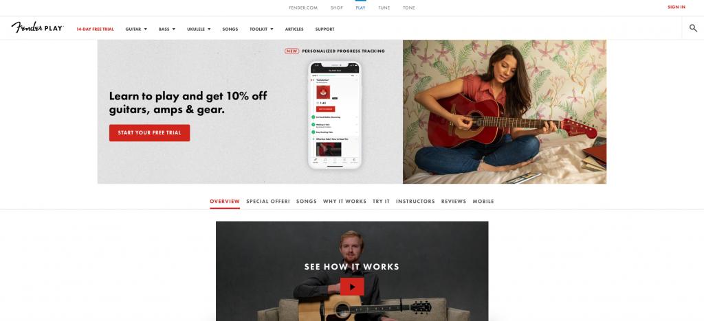 Benutzeroberfläche Fender Play