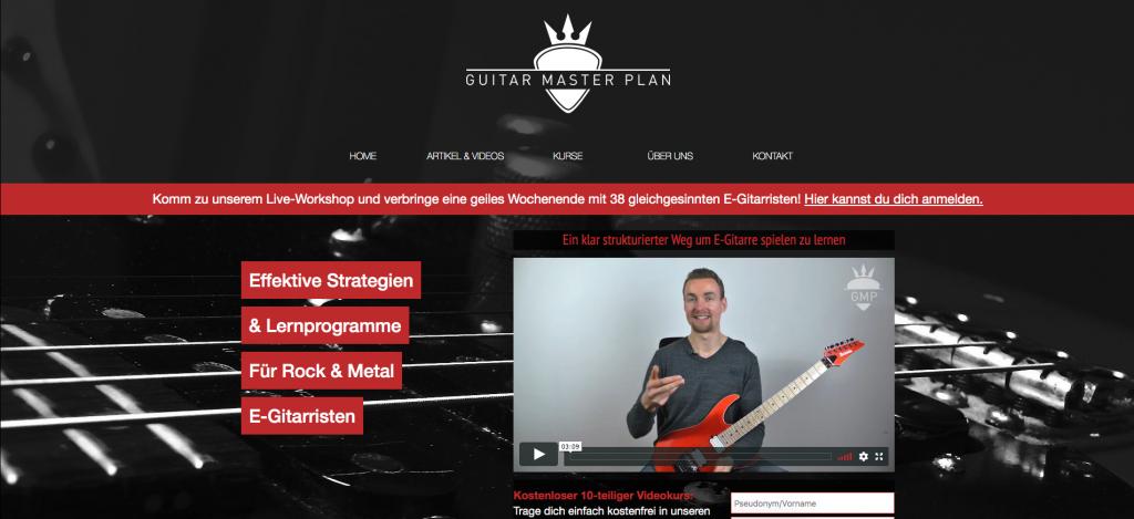 Benutzeroberfläche Guitar Master Plan